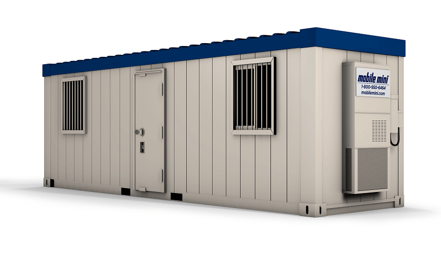 high-security ground level office, mobile mini, double windows with bars, single entry, HVAC