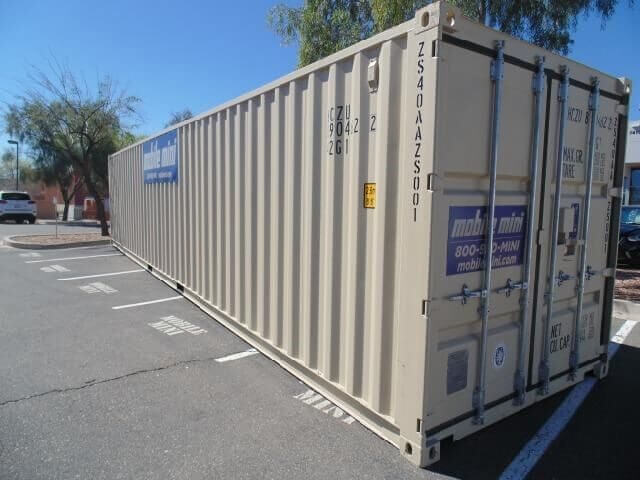storage container, 40-foot long, double doors, sitting in parking lot, Mobile Mini