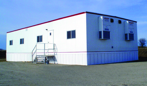 mobile office, Satellite Shelters, stairs in front, HVAC, under skirting, multiple windows