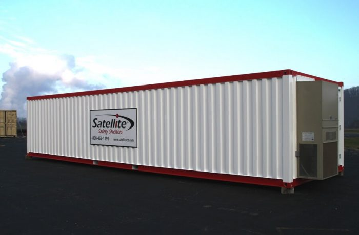 storage container, 40-foot long, HVAC, single entry, with Satellite Shelters sign
