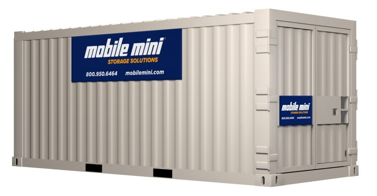 mobile mini logo, storage container, 20-footer, with logo