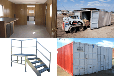 storage container on construction site, storage container, step ladder, interior of mobile office, and step ladder