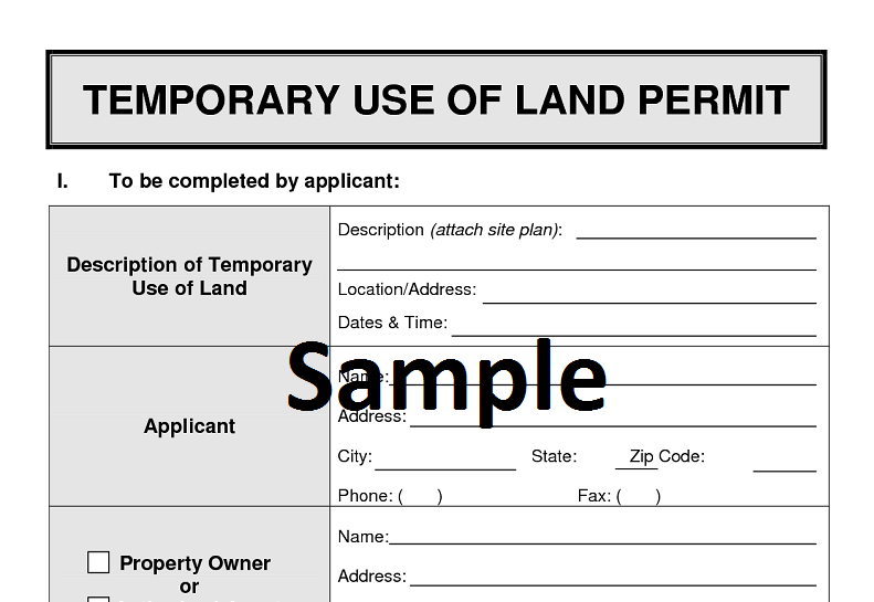 temporary use of land permit